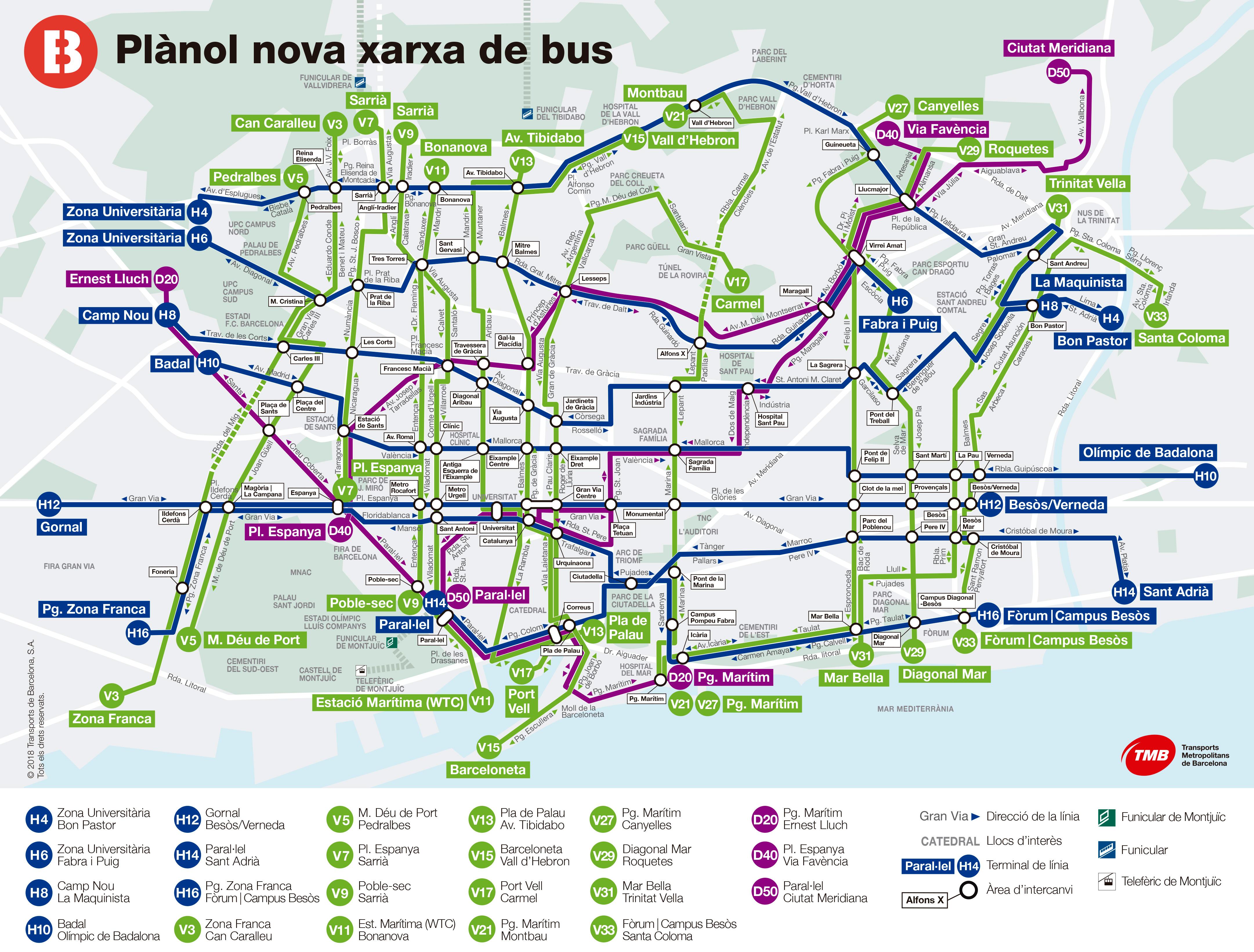 Cartina Metro Barcellona.Mappa Dei Bus Di Barcellona Destinazione Lavoro