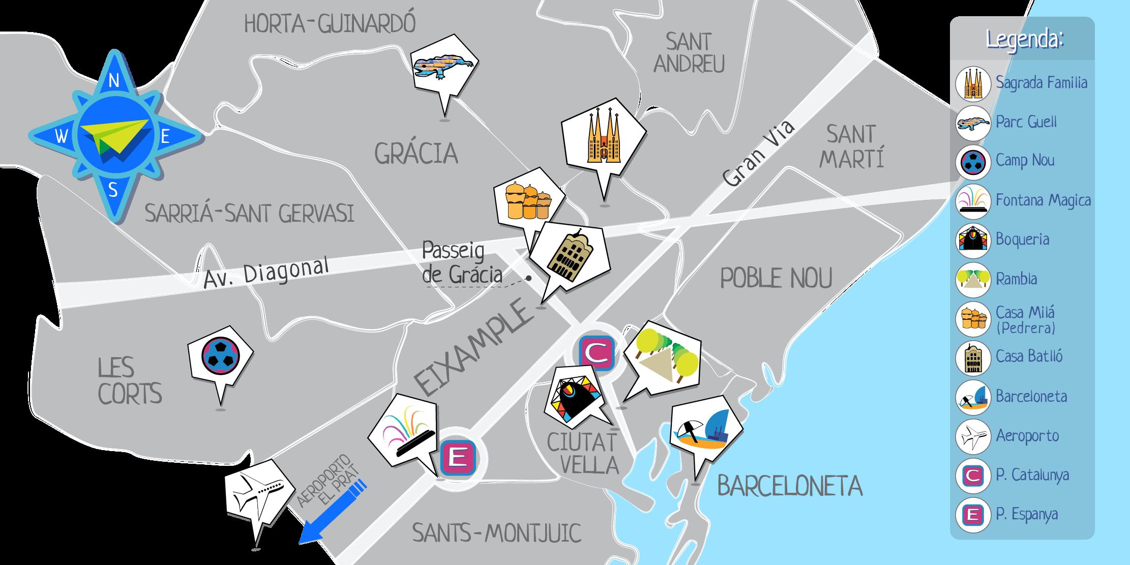 La mappa di Barcellona