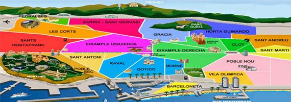 Cartina Quartieri Barcellona.Mappa Della Citta Di Barcellona Destinazione Lavoro
